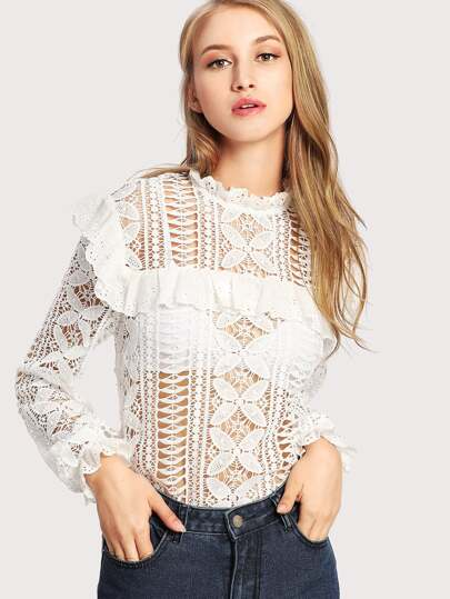 Floral Lace Cut Out Frilled Detail Blouse