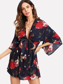 Cutout Midriff Tie Front Floral Romper
