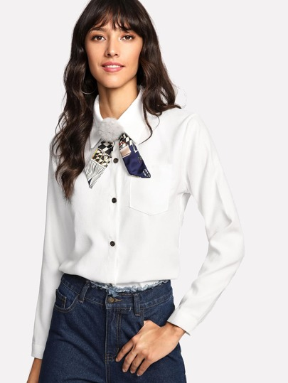 Pom Pom Detail Bow Neck Shirt