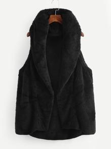 Faux Fleece Shawl Collar Vest