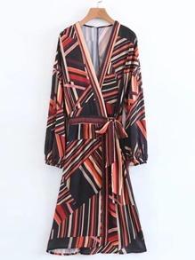 Self Tie Striped Surplice Dress