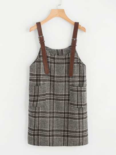 Dual Pocket Houndstooth Pinafore Dress