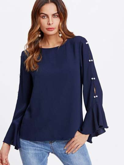 Pearl Beading Split Ruffle Sleeve Top