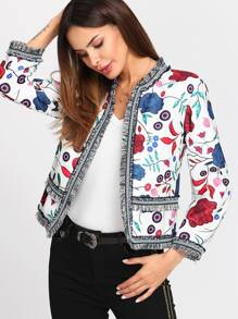 Fringe And Patched Trim Floral Blazer