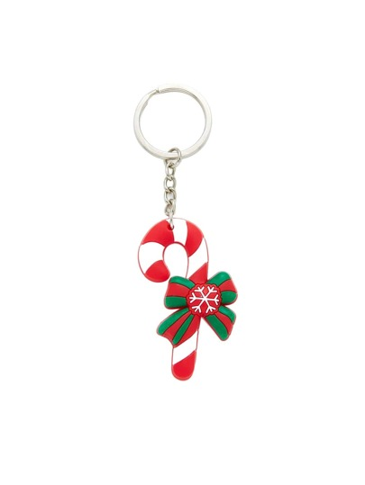 Christmas Snowflake Pattern Color Block Keychain