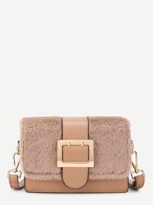 Buckle Front Faux Fur Flap PU Shoulder Bag
