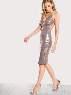 Woven Open Back Sequin Dress ROSE GOLD