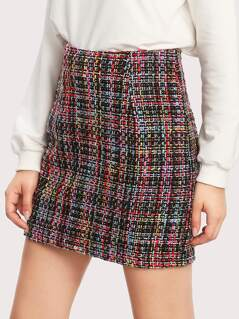 Zipper Hidden Colorful Tweed Skirt