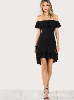 Off Shoulder Ruffle Hem Dress BLACK