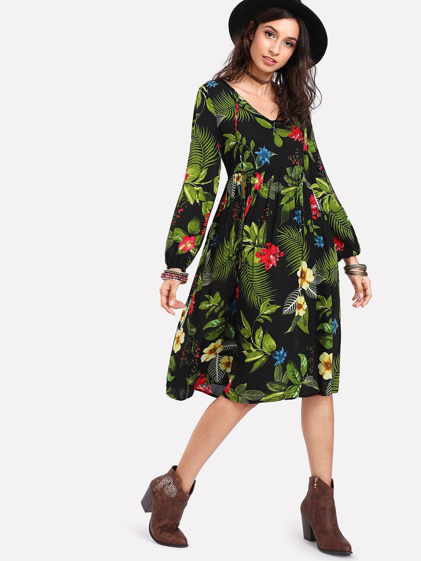 Bishop Sleeve Tropical Print Dress bishop sleeve tropical print dress