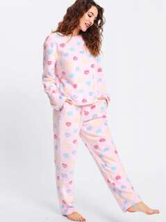 Heart Pattern Fleece Top & Pants Pj Set