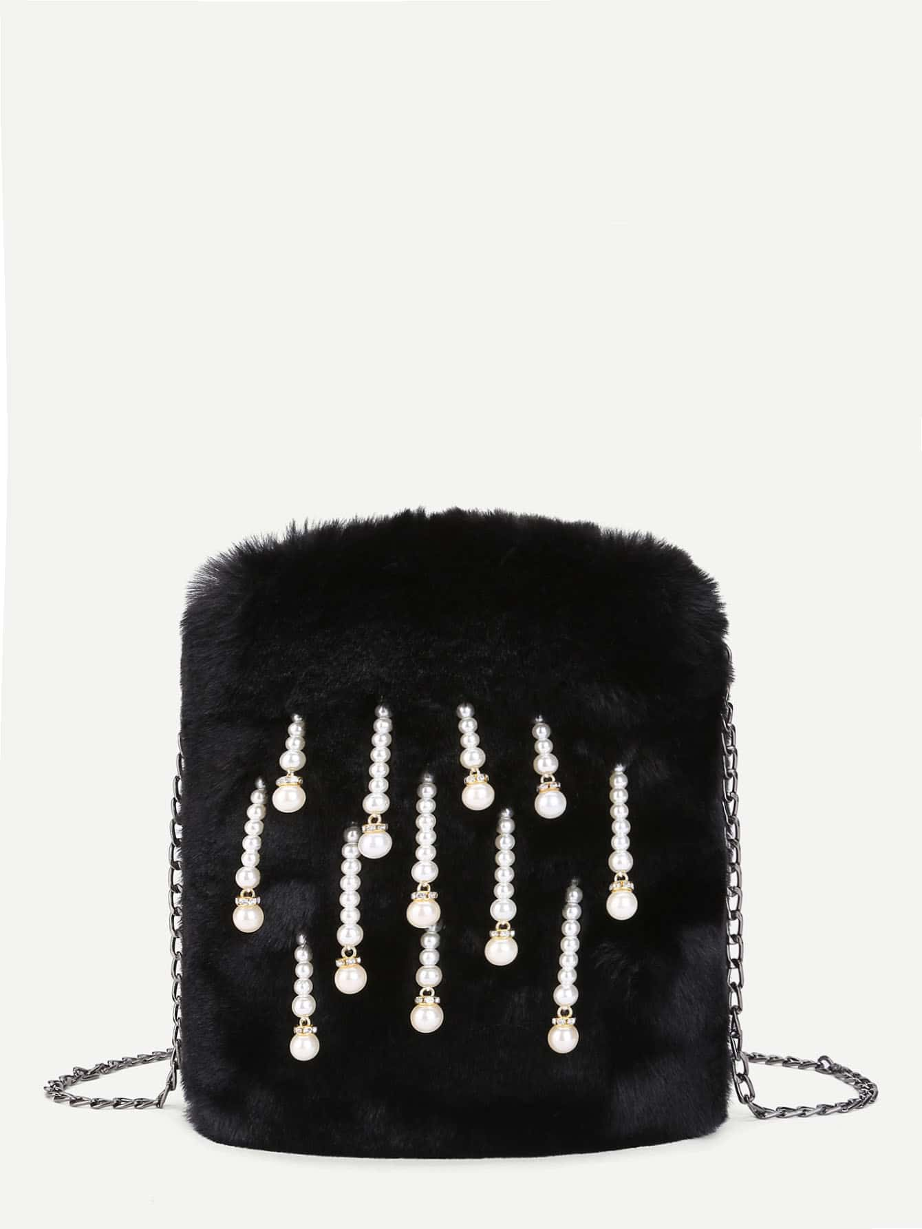 Faux Pearl Decorated Faux Fur Chain Bag