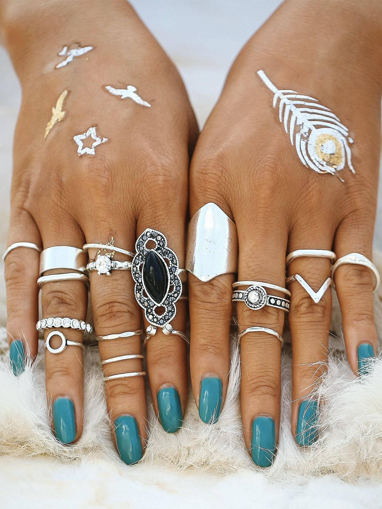 Mixed Shaped Ring Set mixed ring pack 10pcs