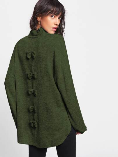 Split Side High Low Bow Back Sweater