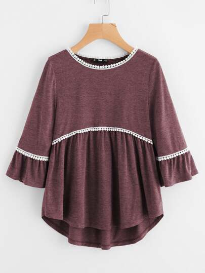 Dot Crochet Trim Curved Dip Hem Top