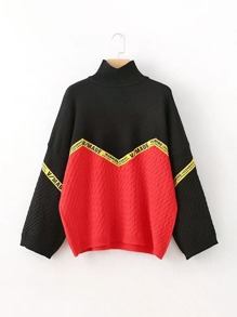Slogan Tape Color Block Sweater