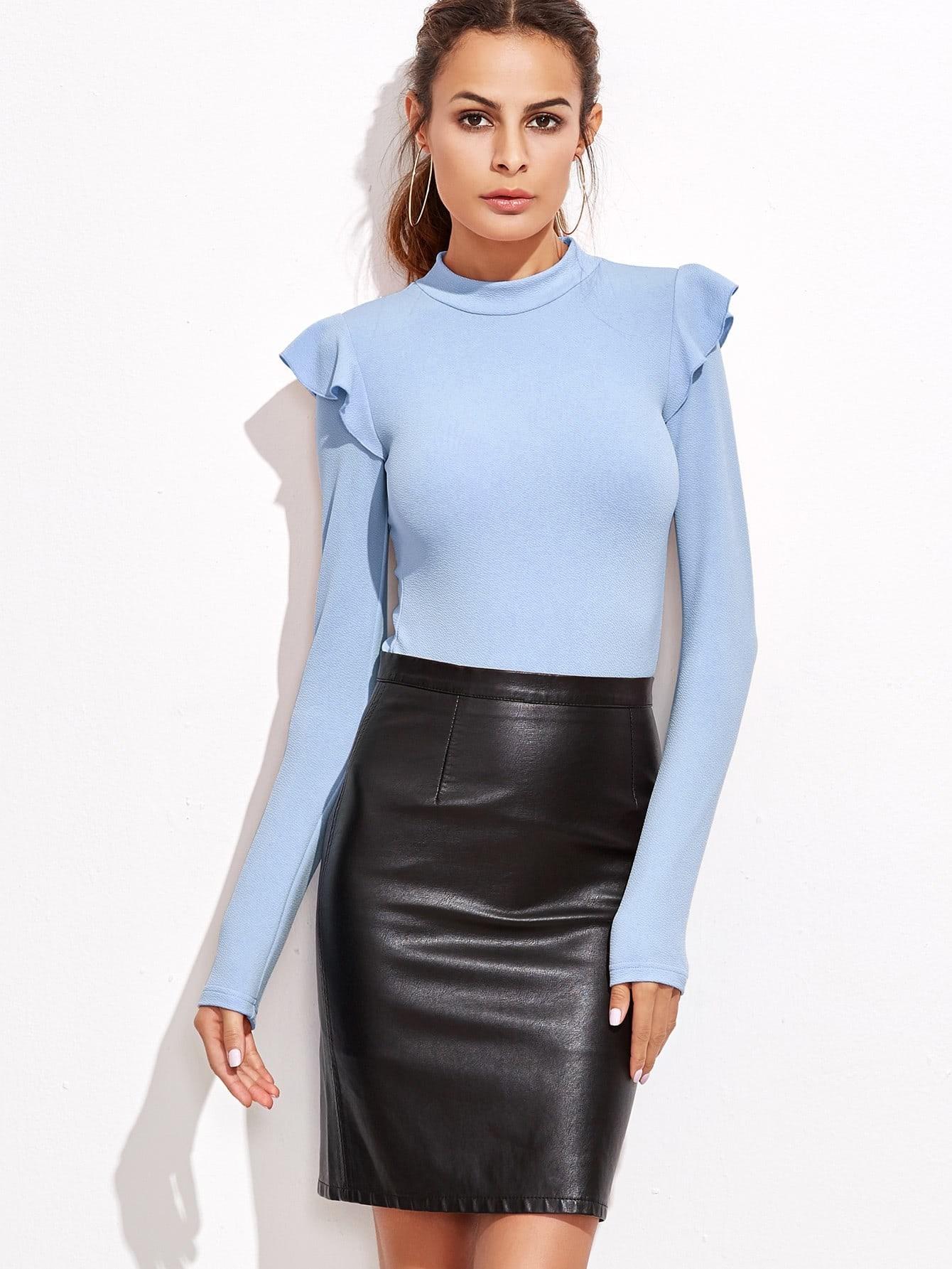 Mock Neck Frill Detail Textured Bodysuit frill sleeve tape detail sweatshirt