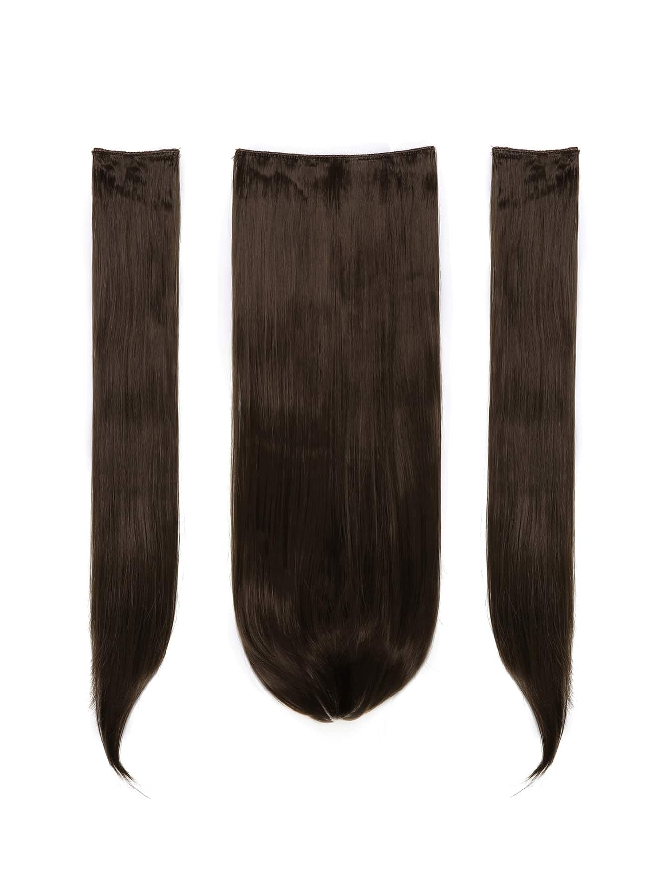 Choc Brown Clip In Straight Hair Extension 3pcs