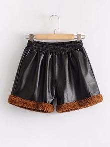 Pantaloncini di PU con bordi a contrasto