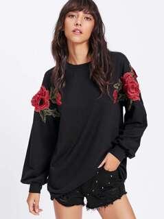 3D Rose Applique Solid Pullover