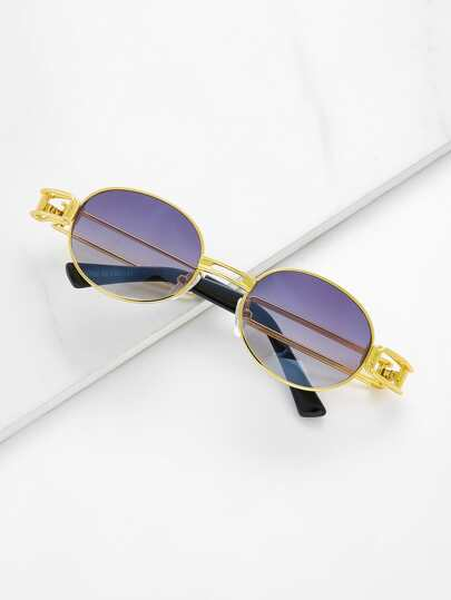 Double Bridge Oval Sunglasses