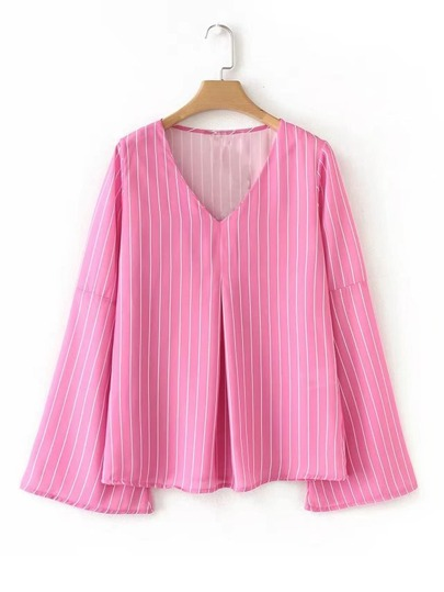 Bell Sleeve Striped Blouse