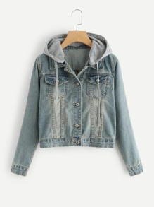 Bleach Wash Hooded Denim Jacket
