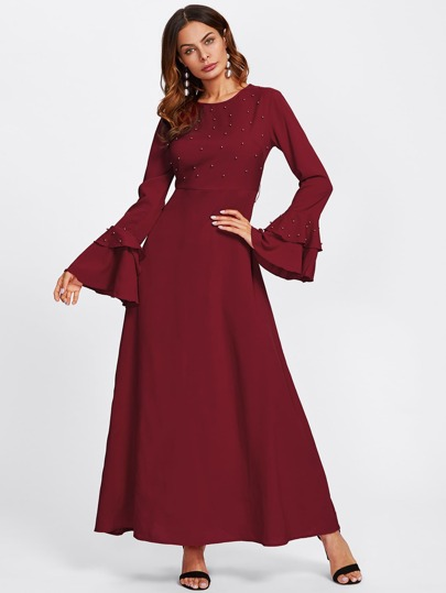 Layered Bell Cuff Pearl Beading Hijab Evening Dress