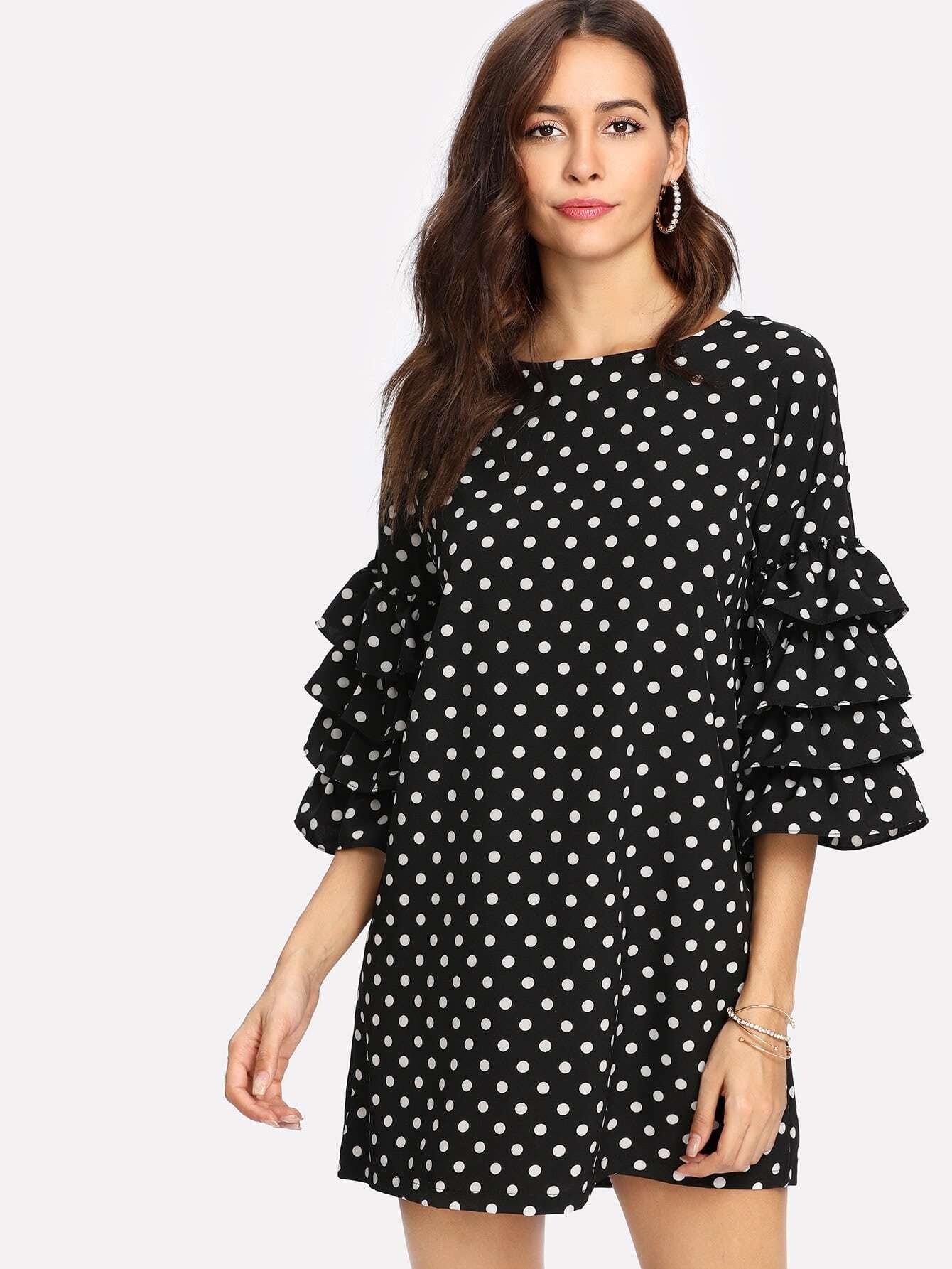 цена на Tiered Ruffle Sleeve Spot Dress