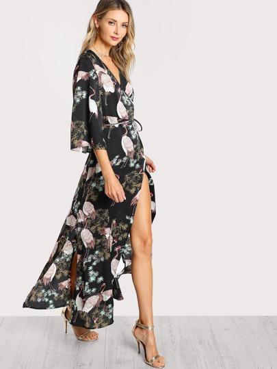 Crane Bird Print Surplice Wrap Hijab Long Dress