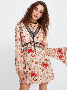 Bell Sleeve Ditsy Print Dress