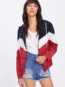 Cut And Sew Windbreaker Hooded Jacket