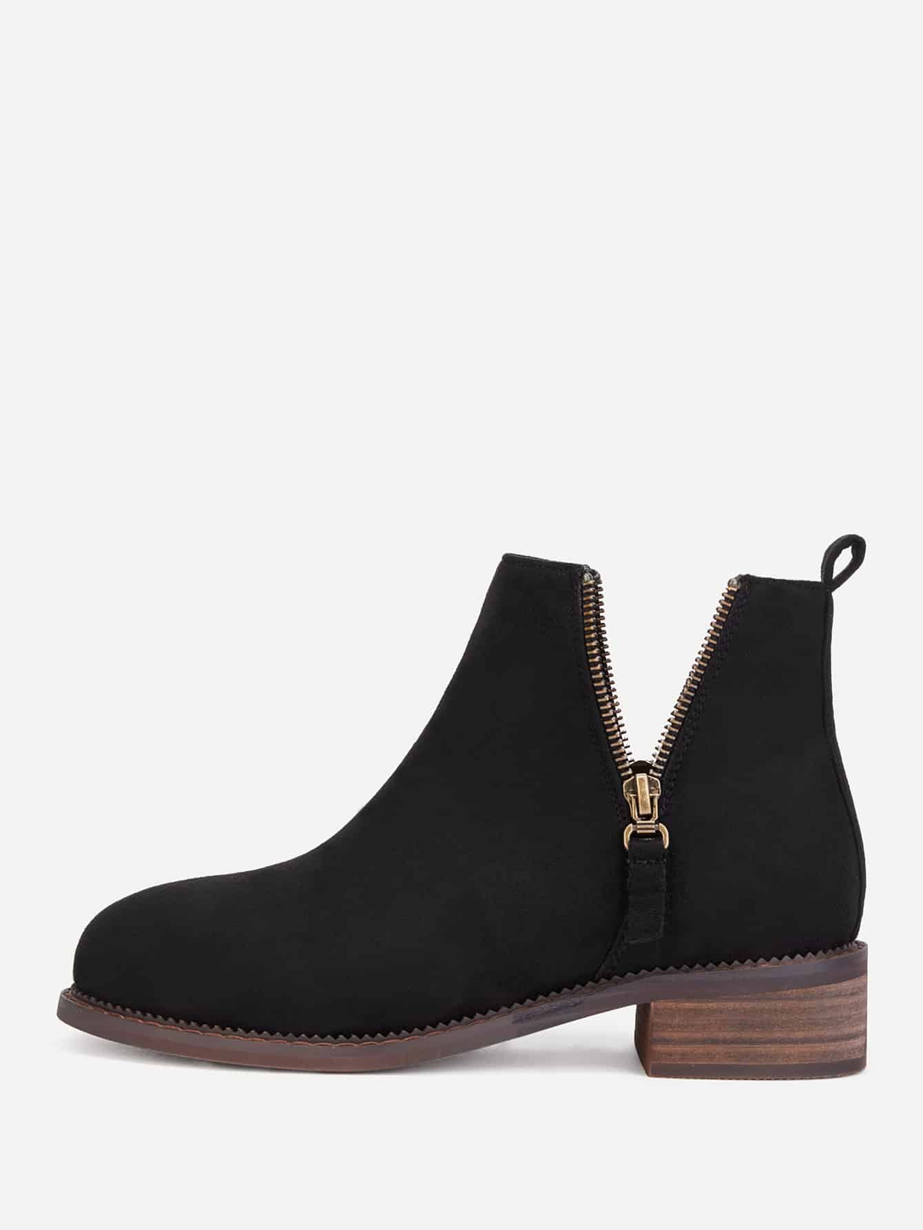 Double Zipper Cork Heeled Ankle Boots