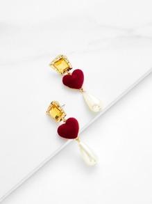 Water Drop Faux Pearl & Heart Design Earrings