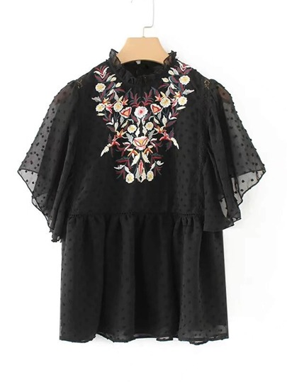Frill Neck Floral Embroidered Top