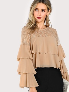 Lace Ruffled Layered Sleeves Crop Top NUDE