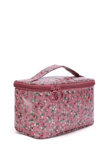 Double Zipper Calico Print Makeup Bag