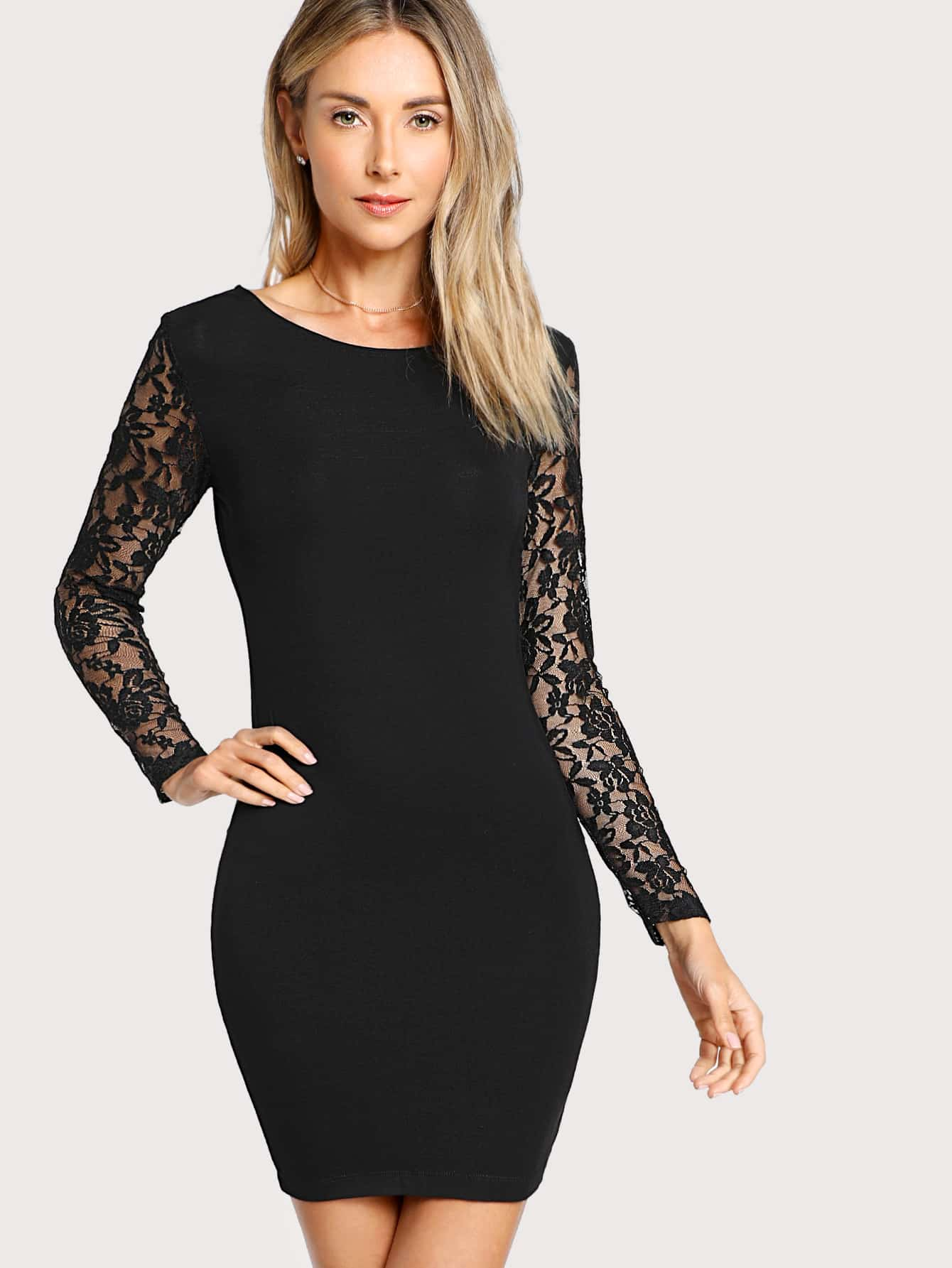Floral Lace Insert Form Fitting Dress guipure lace form fitting dress