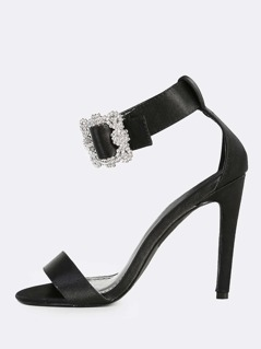 Diamond Buckle Single Band Heels BLACK