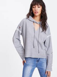 V Cut Distressed Hooded Top