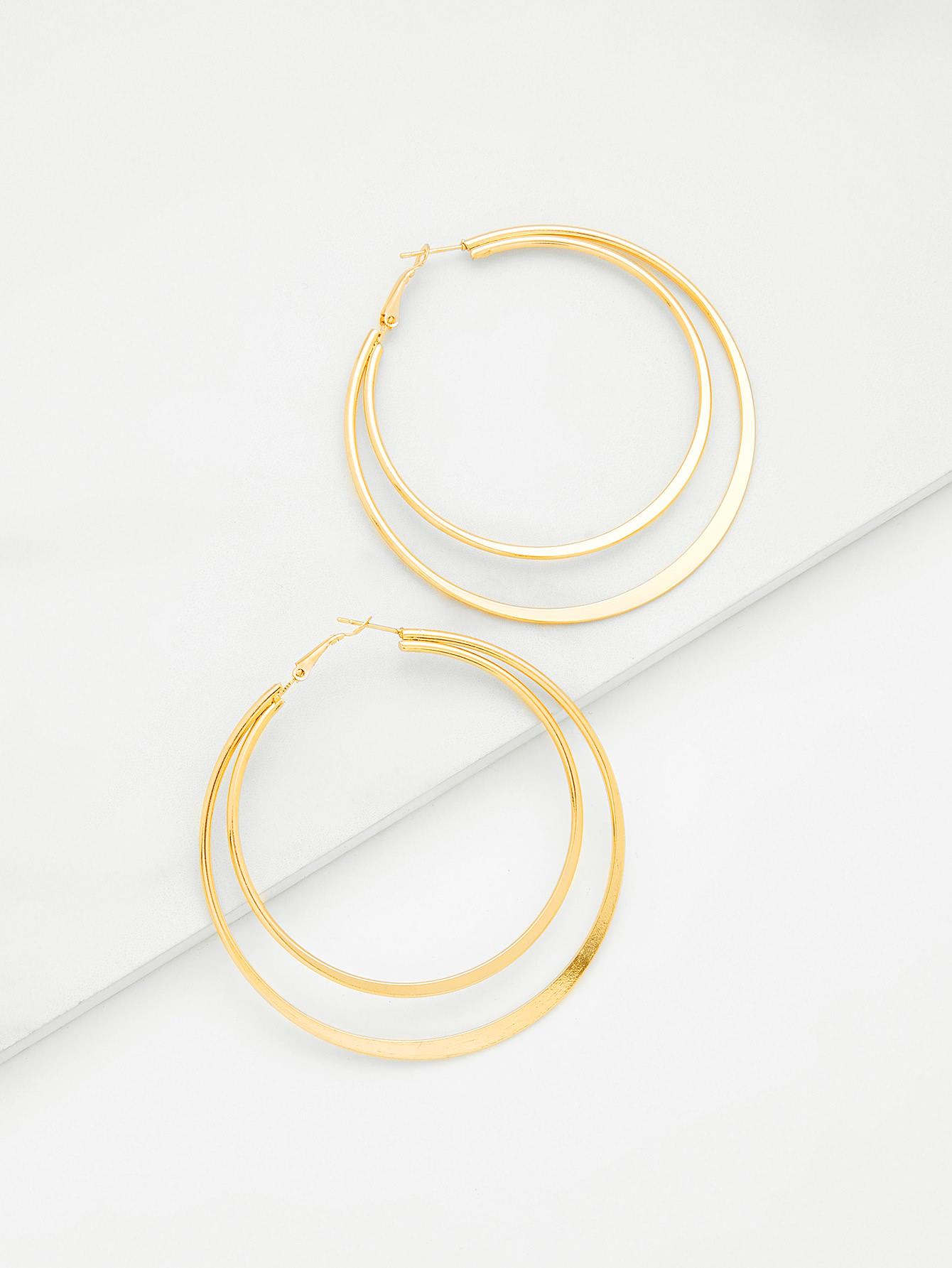 Layered Open Hoop Earrings картридж colortek black для 14854 14855 14856 14857 14858 14860 14861