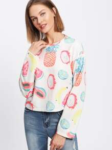 Drop Shoulder Allover Fruit Print Pullover pictures