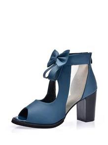 Bow Decorated Peep Toe PU Heels