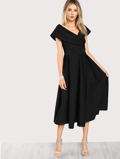 Box Pleated Cross Wrap Bardot Dress