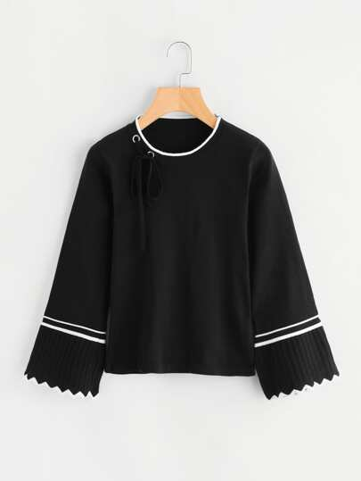 Fluted Sleeve Eyelet Knot Detail Sweater