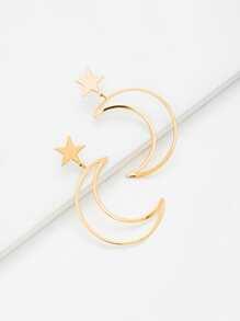 Moon & Star Design Drop Earrings