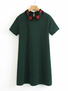 Contrast Embroidered Collar Dress