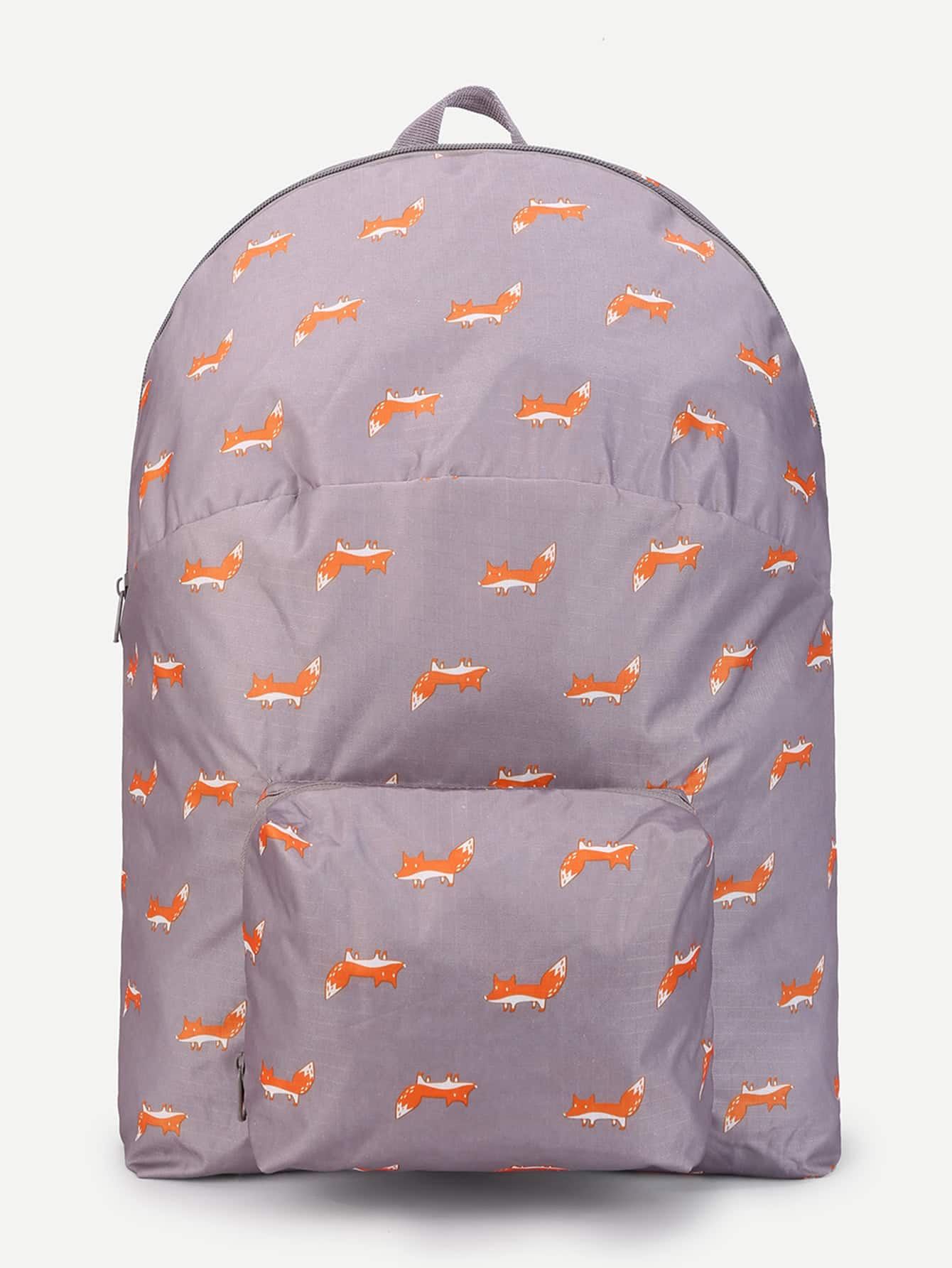 Fox Print Pocket Front Backpack