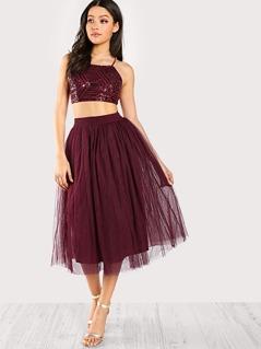 Sequined Cross Strap Crop Top & Matching Skirt Set BURGUNDY
