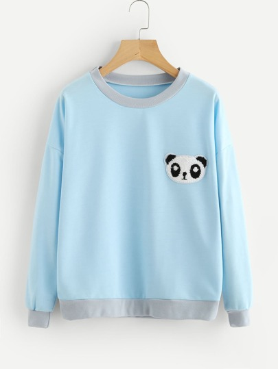 Panda Patch Drop Shoulder Sweatshirt